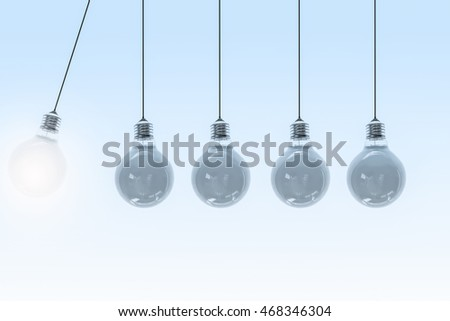 Newton´s cradle with light bulbs-3d illustration