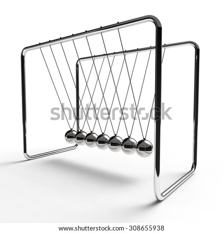 Newton's cradle with silver colored balls suspended from metal frame on a white background - stock photo