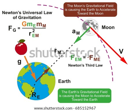Universal law gravitation infographic diagram formula em ilustrao newtons universal law of gravitation infographic diagram with formula and example of earth and moon attraction ccuart Gallery