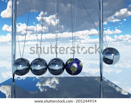 Newtons Cradle Earth Elements of this image furnished by NASA - stock photo