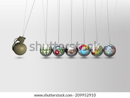Newtons cradle - inflation and falling down concept - stock photo
