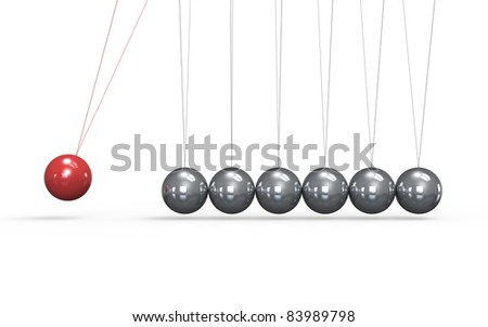 Newtons cradle White floor. One red Ball in the Pendulum. - stock photo