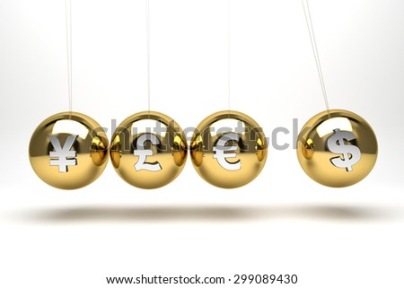 Newtons cradle with currency symbols, euro,dollar,yen and pound - stock photo