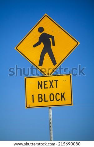 Next 1 block, information for pedestrian  - stock photo