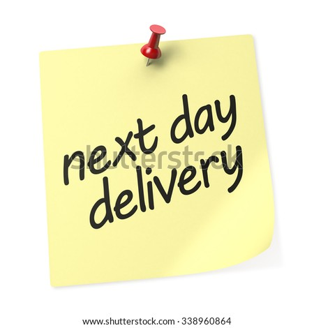 Next Day Delivery Yellow sticky note with Red Push Pin. 3D Rendering - stock photo