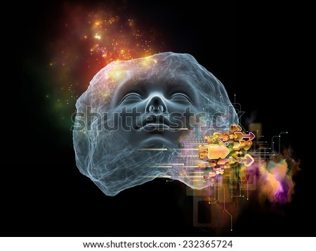 Next Generation AI series. Abstract design made of fusion of human head and fractal shape on the subject of mind, consciousness and spirituality