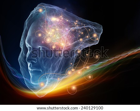 Next Generation AI series. Composition of  fusion of human head and fractal shape to serve as a supporting backdrop for projects on mind, consciousness and spirituality - stock photo