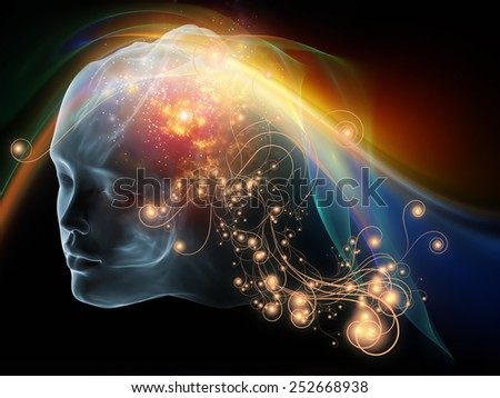 Next Generation AI series. Design made of fusion of human head and fractal shape to serve as backdrop for projects related to mind, consciousness and spirituality - stock photo