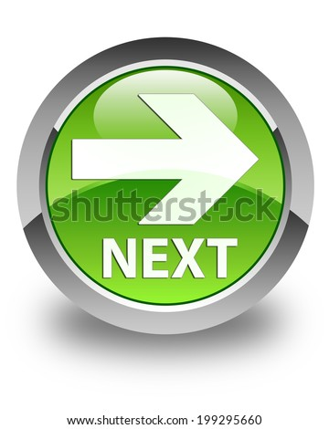 Next icon glossy green round button - stock photo