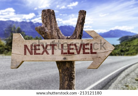 Next Level wooden sign with a street background  - stock photo
