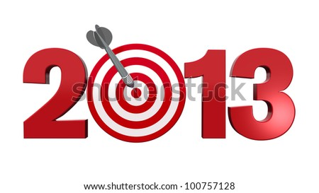 Next New Year 2013. Number with red and white target, one dart hits the center of the target - 3d render illustration - success in business concept. - stock photo