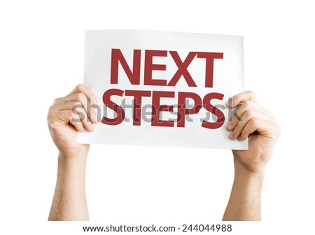 Next Steps card isolated on white background - stock photo