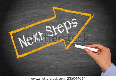 Next Steps - Chalkboard with arrow and female hand - stock photo