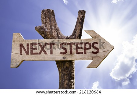 Next Steps wooden sign on a beautiful day - stock photo