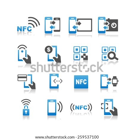 NFC technolgy icon set - Simplicity Series - stock photo