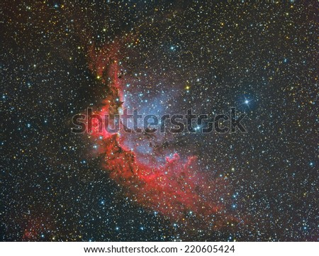NGC7380 Wizard Nebula imaged with a telescope and a scientific CCD camera - stock photo