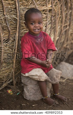 NgoroNgoro,Tanzania - JULY 21, 2014: child from Masai tribe in a local village in Tanzania