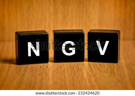 NGV or natural gas vehicle text on black block - stock photo