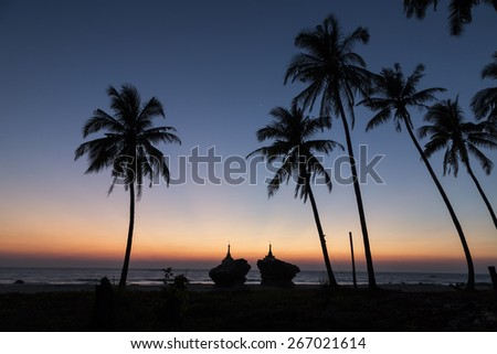 Ngwe Saung Beach sunset, Myanmar, Burma - stock photo