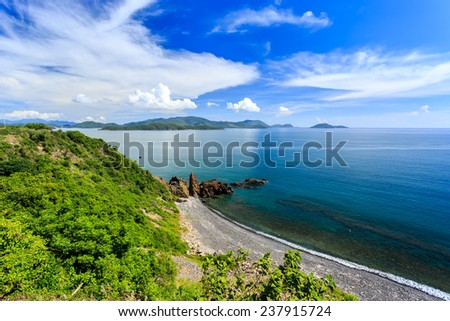 Nha Trang bay, Vietnam. North Of Nha Trang City.Taken From High Point - stock photo