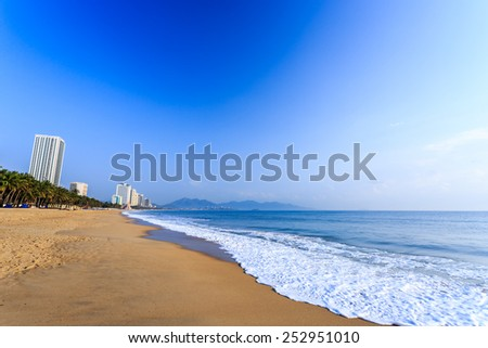 Nha Trang City Beach, Vietnam. Early Morning - stock photo