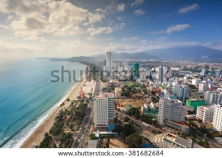 Nha Trang city, Vietnam - February 1, 2016 : panoramic view of Nha Trang city view from a bar-cafe on the terrace of a building.