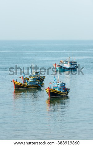 Nha Trang city, Vietnam - January 28, 2016: Fishering Activity in the fishing village near NhaTrang city, Vietnam