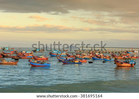 Nha Trang city, Vietnam - January 28, 2016: Fishing boats in the fishing village near NhaTrang city, Vietnam