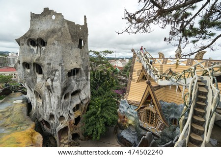 NHA TRANG, VIETNAM - JUNE 23, 2016: View to the roofs and stairs of fairy tale's buildings in an amusement park in Vietnam