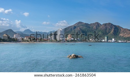 NHA TRANG, VIETNAM, MARCH , 02, 2015:  Nha Trang is a coastal city in Vietnam, famous with beautiful beaches and bays. - stock photo
