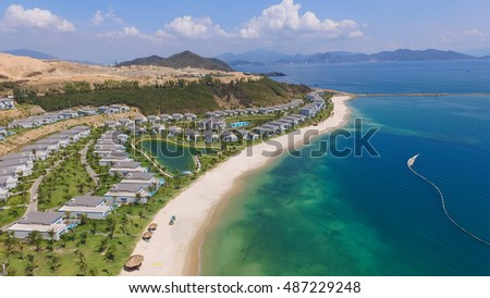 Nha Trang, Vietnam - May 14 2016 : Five star Vinpearl resort view at Nha Trang, Vietnam from above view of drone or flycam. It is a popular destination for tourists with beachs and resorts