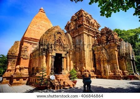 NhaTrang city, Vietnam in August 14th 2014: Ponagar, the most popular Champa temple at NhaTrang city, Khanh Hoa province, Vietnam - stock photo