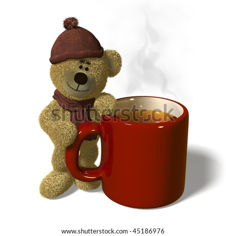 Nhi Bear stands next to a steaming mug of tea.