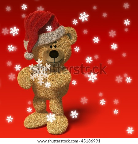 Nhi Bear wearing Santa's cap and holding a snowflake between it's hands, surrounded by falling snow. - stock photo