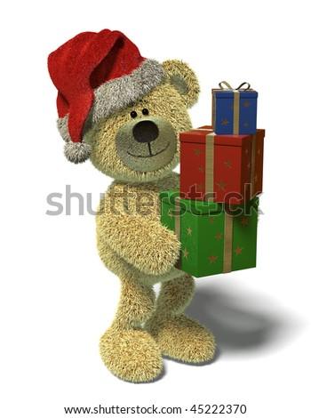 Nhi Bear with christmas-presents - stock photo