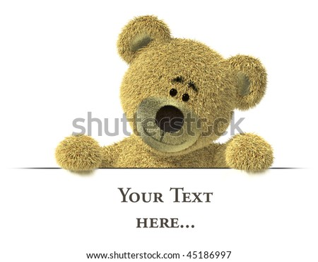 Nhi Bear with empty white billboard, looking down to the placeholder. - stock photo