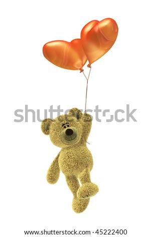 Nhi Bear with heartshaped balloon flying - stock photo