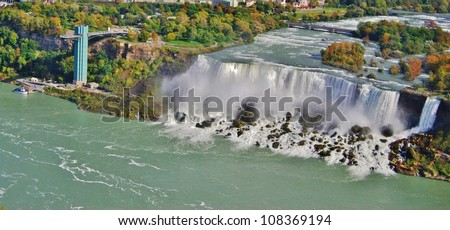 Niagara Falls Aerial View, USA - stock photo