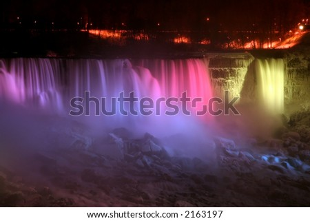 Niagara Falls at Night - American and Veil Falls - stock photo