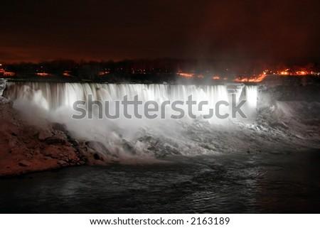 Niagara Falls at Night with Lights - American and Veil Falls - stock photo