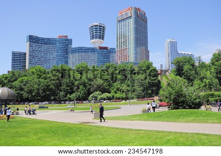 NIAGARA FALLS, CANADA - JULY 01: View of the hotels of the city center on July 01, 2011 in Niagara falls, Canada.
