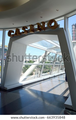 NIAGARA FALLS, CANADA - JUNE 2014 ::Entrance of indoor glass walkway of Fallsview Bridge  which leads to casino