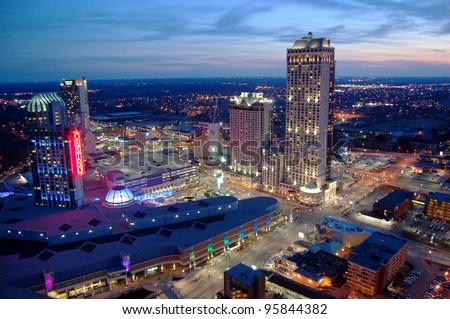 Niagara Falls Casino and Resorts at sunset, Canada - stock photo