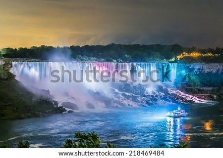 Niagara Falls closeup panorama by night. Ontario, Canada. - stock photo
