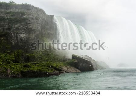 Niagara Falls closeup panorama in the day. Ontario, Canada. - stock photo
