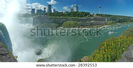 niagara falls, horseshoe waterfall left, photo taken from united states, canada on the other side, skylon tower and casino visible