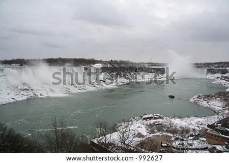 Niagara Falls - Landscape of Both Falls - stock photo