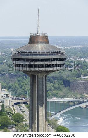 NIAGARA FALLS - MAY 28: Skylon Tower in Niagara Falls view from Canadian side in Niagara Falls on May 28, 2016 in Niagara Falls, Canada. - stock photo