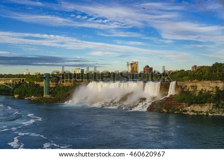 Niagara Falls Panoramic View from Canadian Falls side in Ontario, Canada