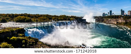 Niagara falls, panoramic view of both American and Canadian sides - stock photo